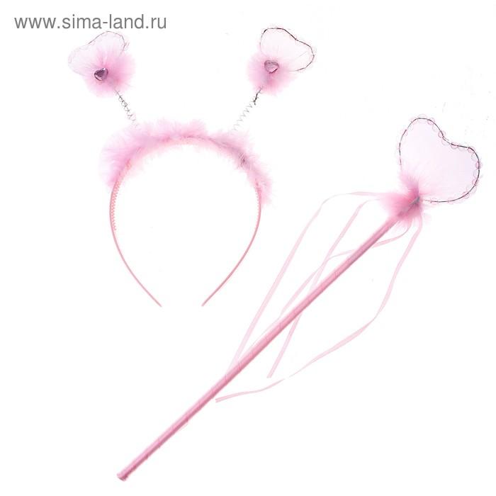 """Набор карнавальный """"Корона"""", внутри сердечко, 2 предмета: ободок, волшебная палочка, цвета МИКС"""