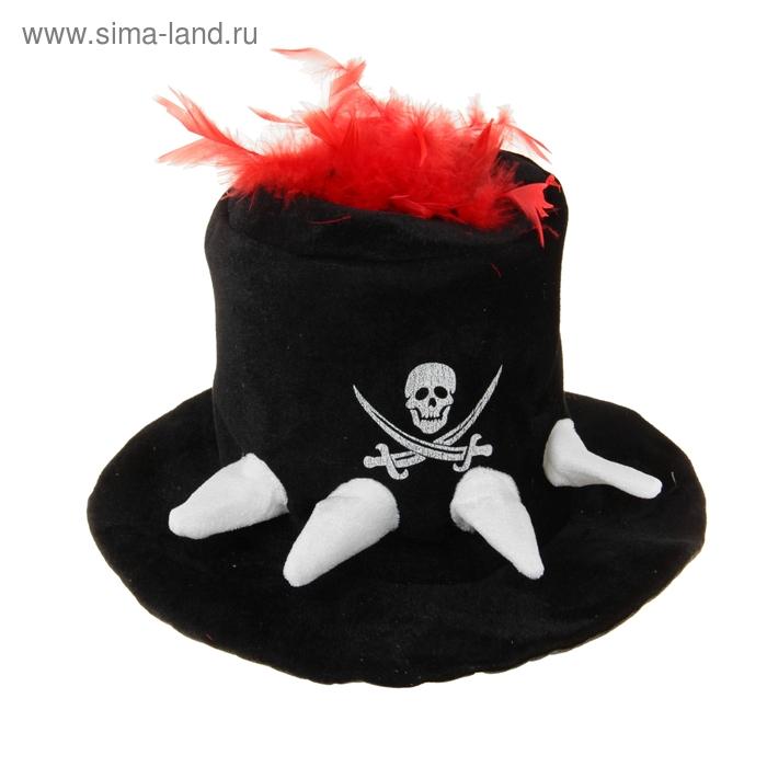Карнавал шляпа ткань череп с красными перьями 23*35*35