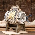 """Бочка на деревянной подставке """"Замок"""", серебристый кран, 2,5 л"""
