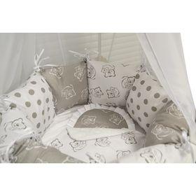 """Комплект 19 предметов для прямоугольной кроватки """"Мишка с малышом"""", цвет серый"""