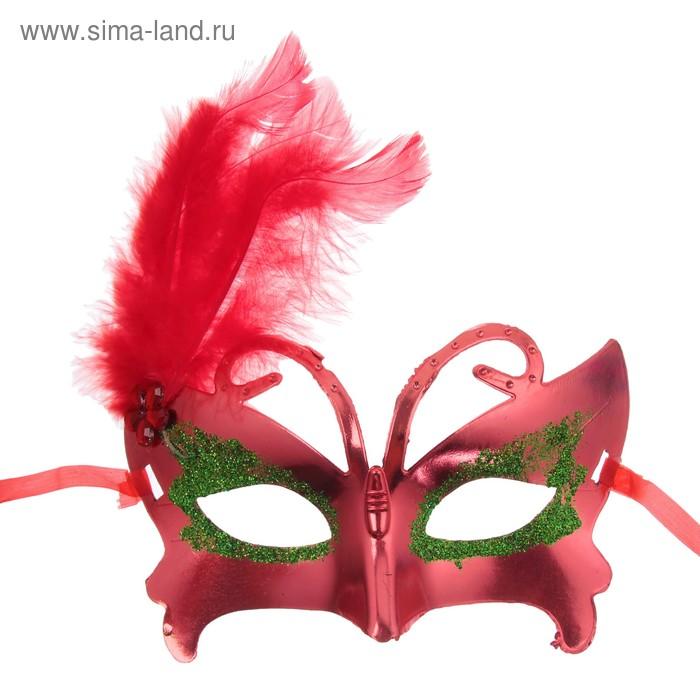"""Карнавальная маска """"С пером"""", цвет МИКС"""