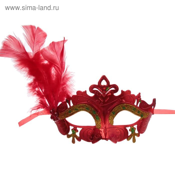 """Карнавальная маска """"Нежность"""" с пером, цвет МИКС"""