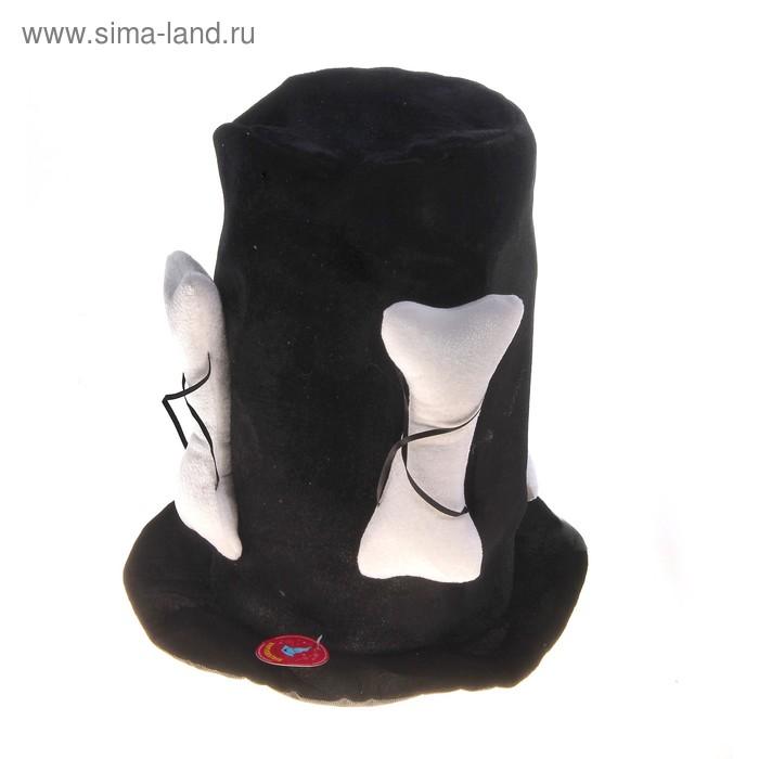 """Шляпа карнавальная """"Цилиндр с костями"""", черная"""