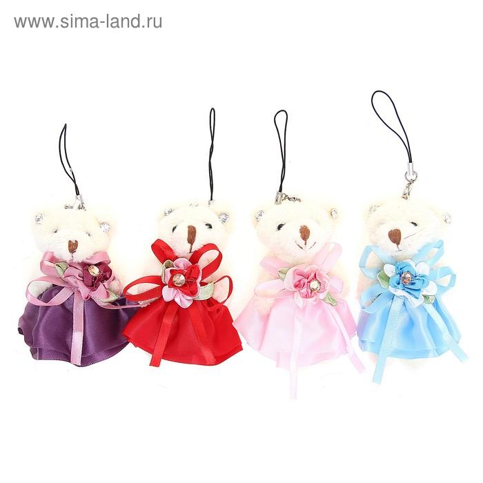 """Мягкая игрушка-подвеска """"Мишка в платье с цветком"""", цвета МИКС"""
