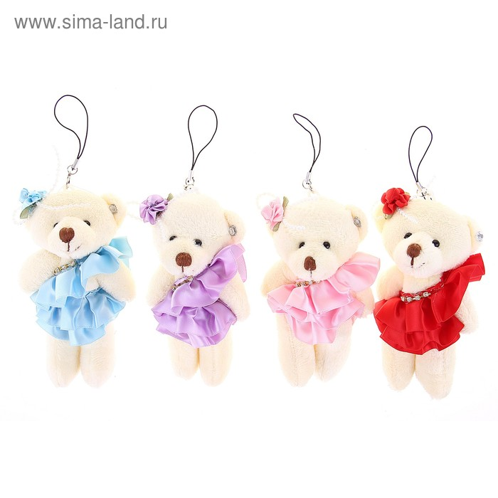 """Мягкая игрушка-подвеска """"Мишка в юбке"""", цветок на голове, цвета МИКС"""