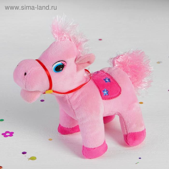 "Мягкая игрушка ""Лошадь"" на попоне вышиты цветы, цвета МИКС"