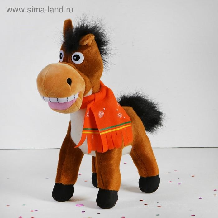 """Мягкая игрушка """"Лошадь"""" в шарфике со снежинками, широкая улыбка, цвета МИКС"""