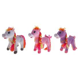 """Мягкая игрушка """"Лошадь"""" с цветной косой, хвост, цвета МИКС"""