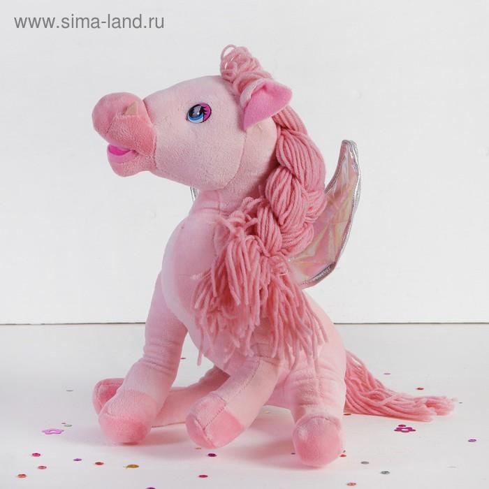 """Мягкая игрушка """"Лошадь"""" с кудрявой челкой, с косой, крыльями, цвета МИКС"""