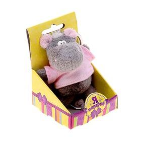"""Мягкая игрушка-брелок """"Бегемот в рубахе"""" в коробочке"""