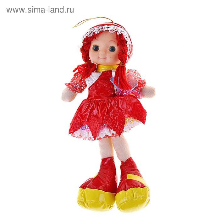 Мягкая игрушка Кукла в платье и шляпке, с косичками, цвета МИКС