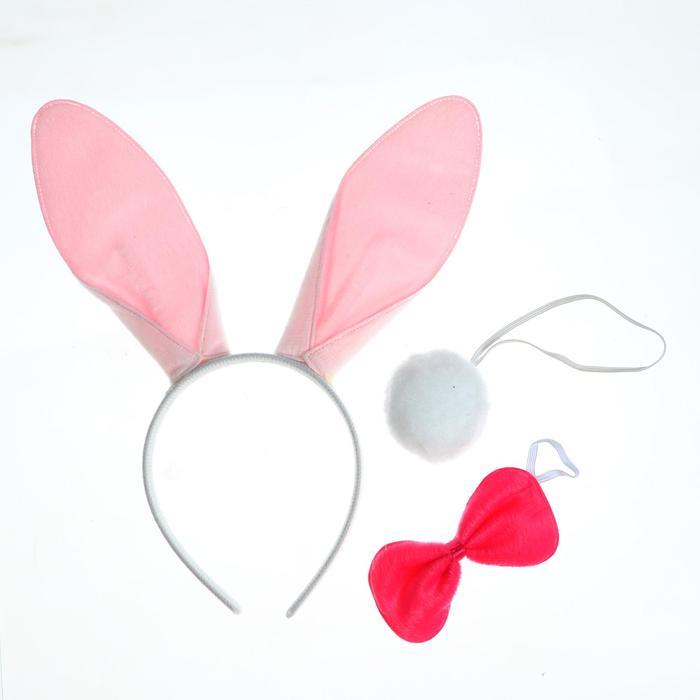 """Карнавальный набор """"Кролик"""", три предмета: хвост, ободок, бант"""
