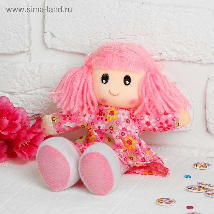 """Мягкая игрушка """"Кукла"""" в ситцевом платье с хвостиками, цвет МИКС"""