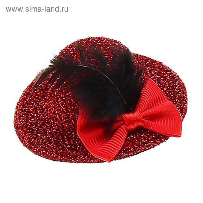 Карнавал зажим шляпка бант перо, набор 6 шт, цвета МИКС