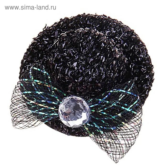 """Карнавальный зажим шляпка """"Мисс"""" блестящая, набор 12 шт, цвета МИКС"""
