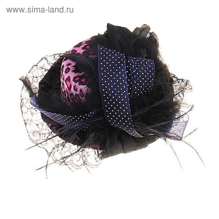 Карнавальный зажим шляпка и вуалетка бант пух, цвета МИКС