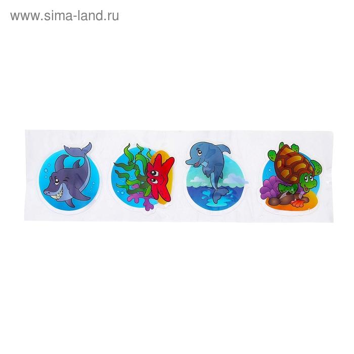 """Карнавальный значок-наклейка световой """"Морской мир"""", разные виды, набор 4 шт"""