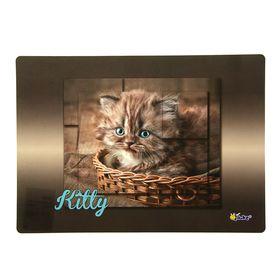 Накладка на стол дизайнерская «Котёнок в лукошке», для девочки, 337 х 242 мм, КН 4-1 Ош