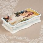 Шкатулка «Ангелочки», белая, 23×12 см, лаковая миниатюра