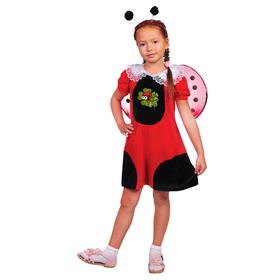 Детский карнавальный костюм 'Божья коровка', платье, шапка, крылья, р-р 32, рост 122-128 см Ош