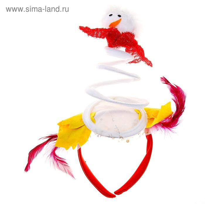 """Карнавальный ободок """"Снеговик"""" пружина"""