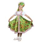 """Русский народный костюм """"Хохлома"""", платье, кокошник, цвет зелёный, р-р 32, рост 122-128 см"""