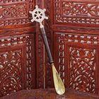 """Ложка для обуви латунь рукоятка дерево """"Штурвал"""" 37х7,5х2,5 см"""