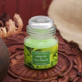 """Свеча в банке """"Зелёный чай и фруктовая страсть"""" 82 гр 6х9х9 см"""