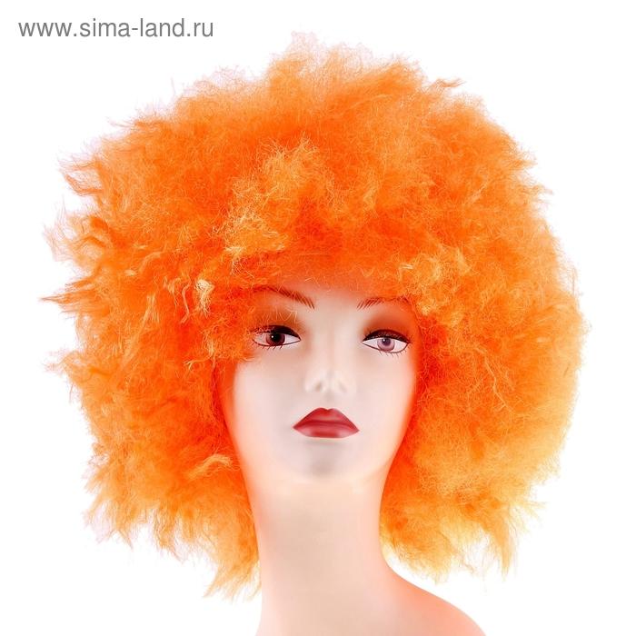 Карнавальный парик световой, мелкие кудри, оранжевый