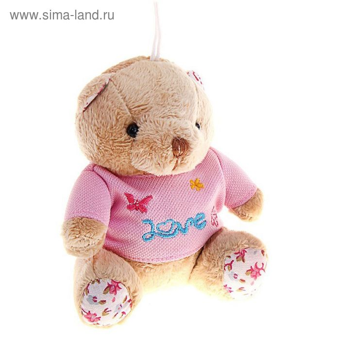 """Мягкая игрушка-присоска """"Мишка в рубашке с надписью"""", цвета МИКС"""