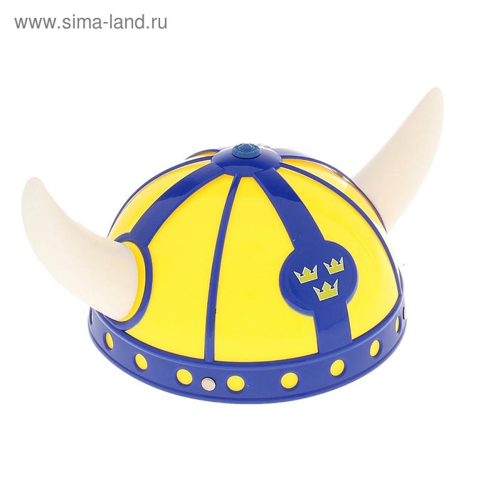 """Шлем """"Викинг"""", белые рога, цвет жёлто-синий"""