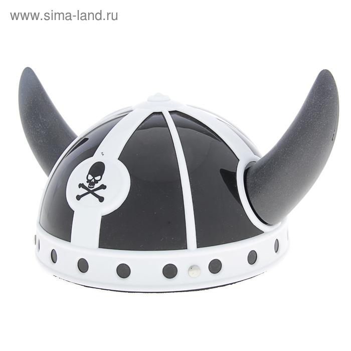 Карнавал шлем болельщика  черные рога с черепом