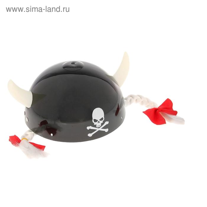 "Шлем с рогами ""Череп"", белые косички"