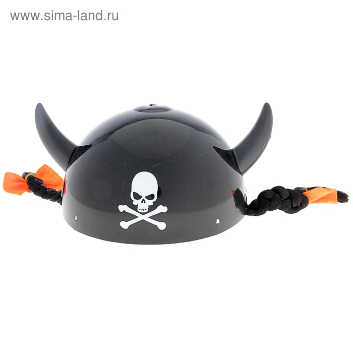 """Шлем с рогами """"Череп"""", чёрные косички"""
