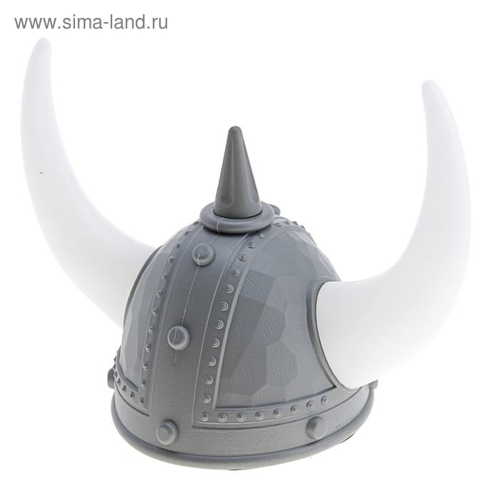 Карнавал шлем викинга цвет серебро с рогами свет