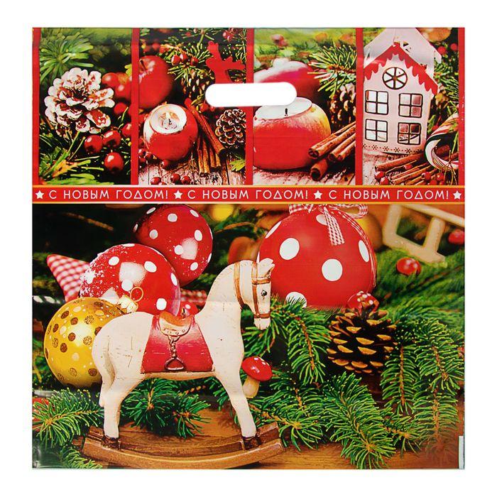 """Пакет """"Канун Рождества"""", полиэтиленовый с вырубной ручкой, 44х44 см, 70 мкм"""