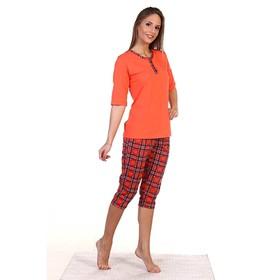 Пижама женская (футболка, бриджи) ПК227 цвет МИКС, р-р 56