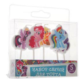 """Набор свечей для торта """"My Little Pony"""" на палочках, 5штуки"""