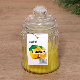 """Свечи ароматическая в стекле """"Большой горшочек"""" 11х10см. лимон"""