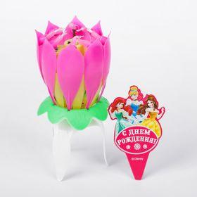 Свеча музыкальный цветок, Принцессы, 12.5 х 5.5 см