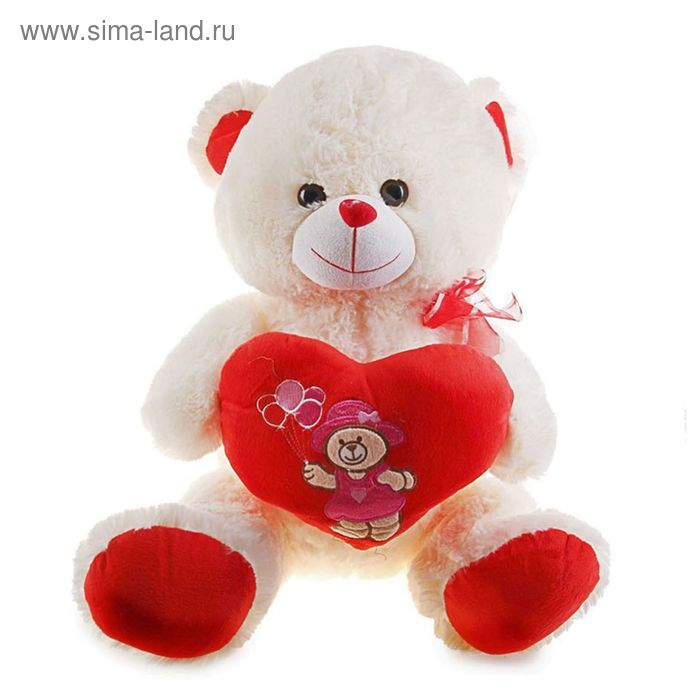 """Мягкая игрушка """"Мишка"""" на сердце вышит мишка с шарами, цвета МИКС"""