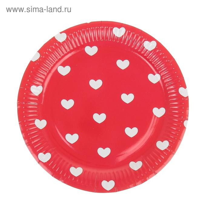"""Набор бумажных тарелок """"Сердца"""" красный цвет, (6 шт), 23 см"""