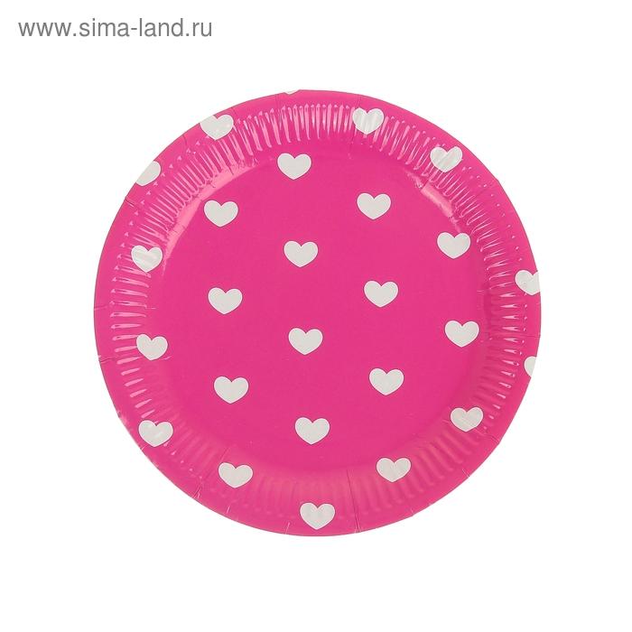 """Набор бумажных тарелок """"Сердечки"""" малиновый цвет, (6 шт), 23 см"""