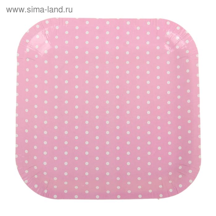 """Набор бумажных тарелок """"Горошек"""" розовый цвет, (6 шт), 18 см"""