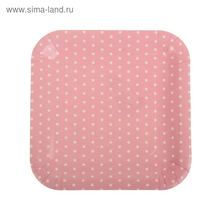 """Набор бумажных тарелок """"Горошек"""" розовый цвет, (6 шт), 23 см"""