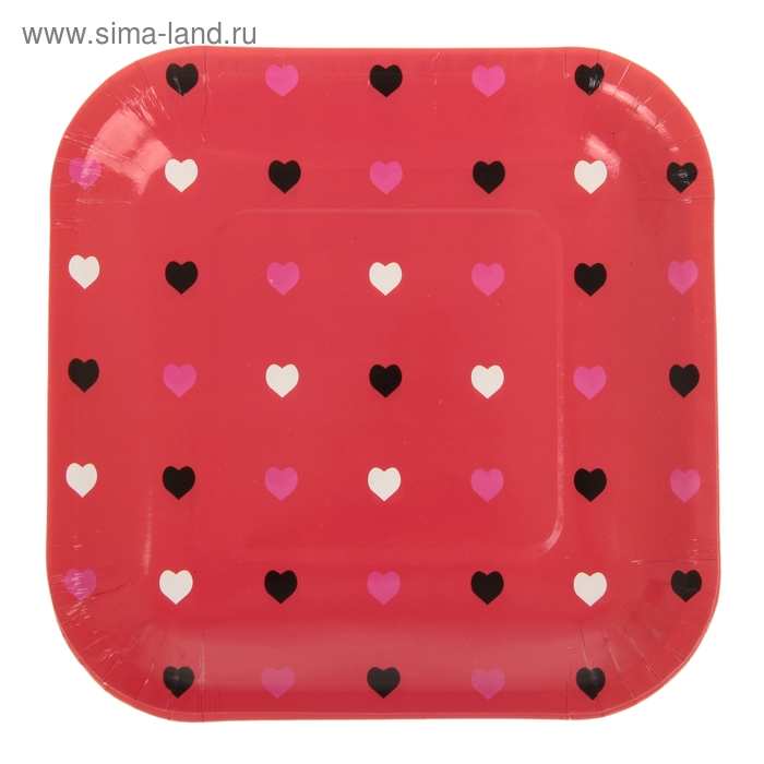 """Набор бумажных тарелок """"Цветные сердечки"""" красный цвет, (6 шт), 18 см"""