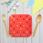 """Набор бумажных тарелок """"Цветные сердечки"""" красный цвет, (6 шт), 23 см"""