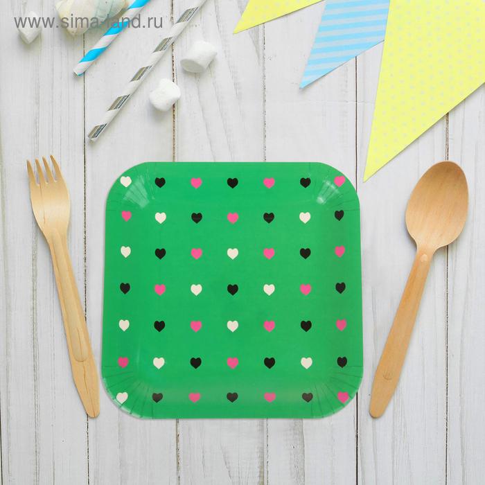 """Набор бумажных тарелок """"Цветные сердечки"""" зеленый цвет, (6 шт), 23 см"""