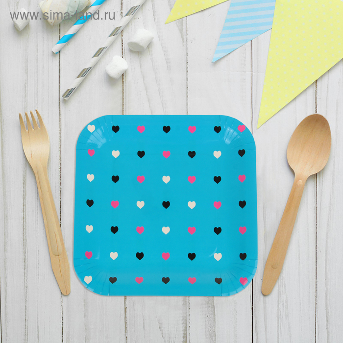 """Набор бумажных тарелок """"цветные сердечки"""" голубой цвет, (6 шт), 23 см"""
