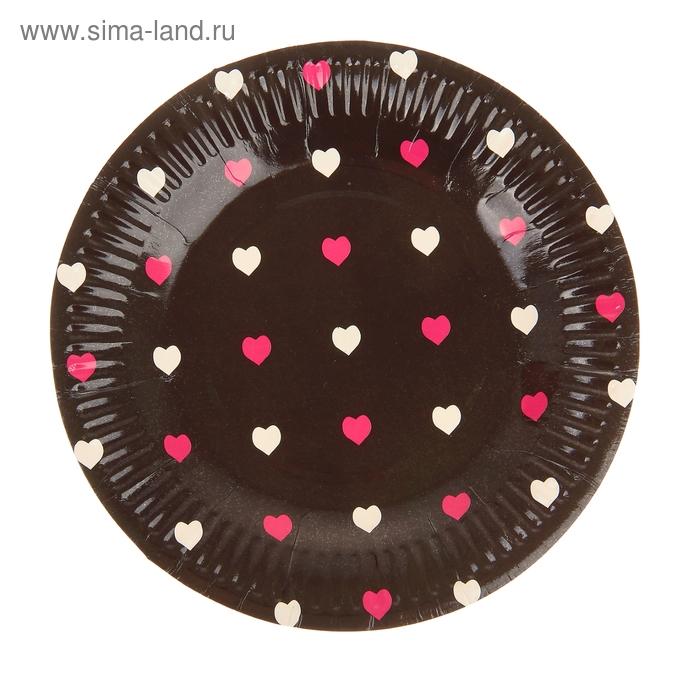 """Набор бумажных тарелок """"Цветные сердечки"""" черный цвет, (6 шт), 18 см"""